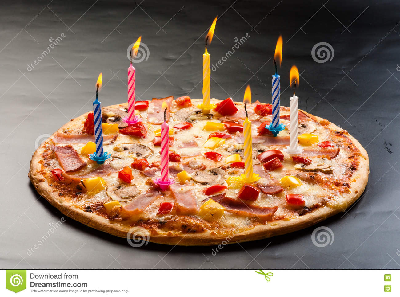 Pizza Creative With Candles Stock Image Image Of Dinner