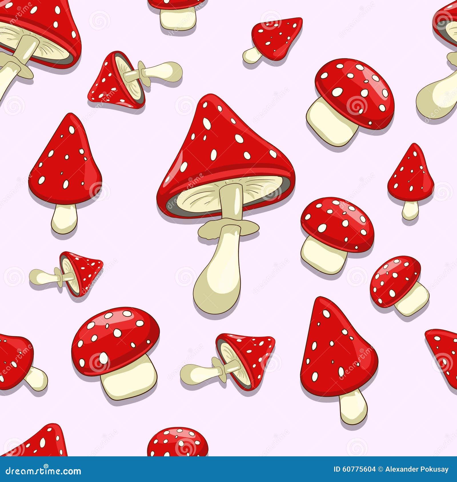 champignons sans couture de toxique d 39 amanite de fond illustration de vecteur illustration du. Black Bedroom Furniture Sets. Home Design Ideas