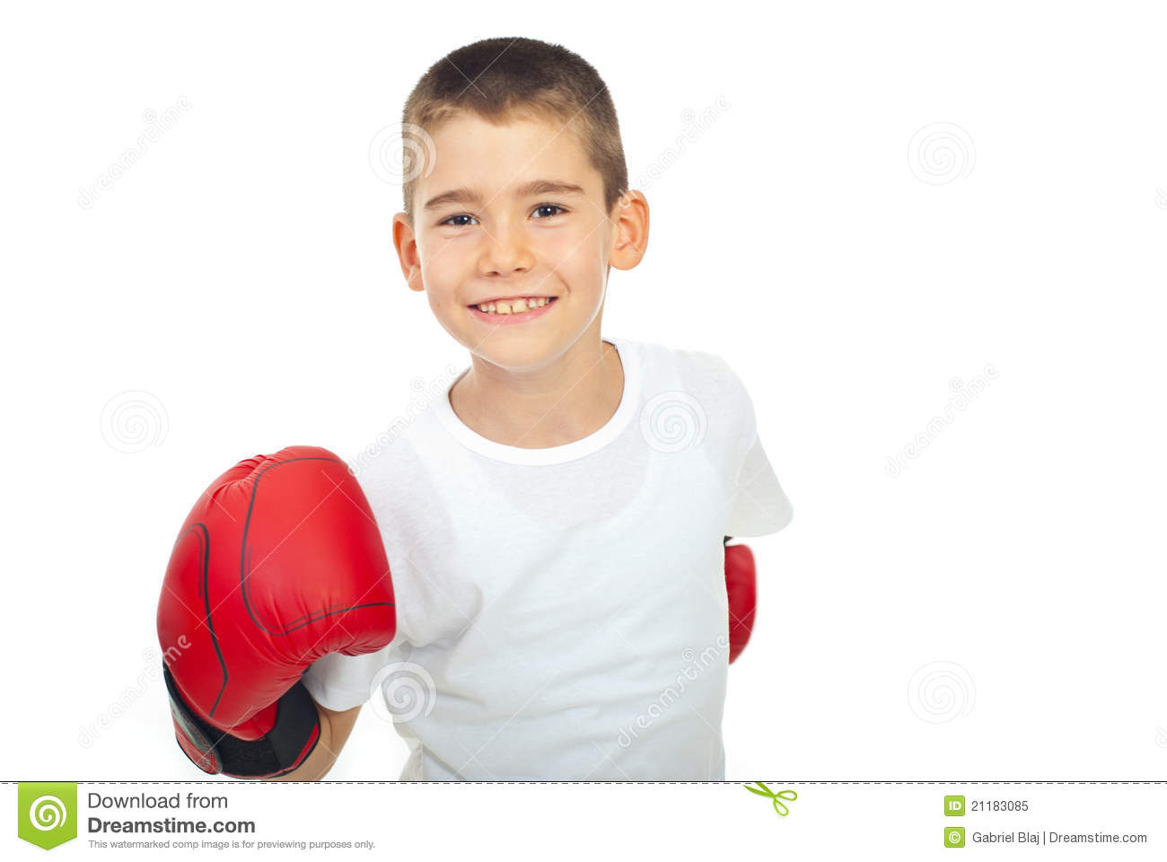 Champion boy with boxing glove