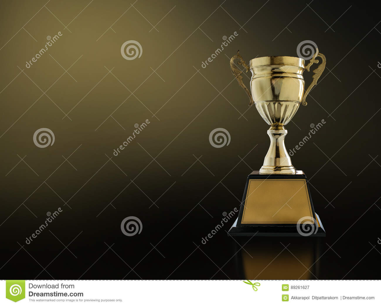 Download Champion Golden Trophy On Modern Black Background With Gold Ligh Stock Image