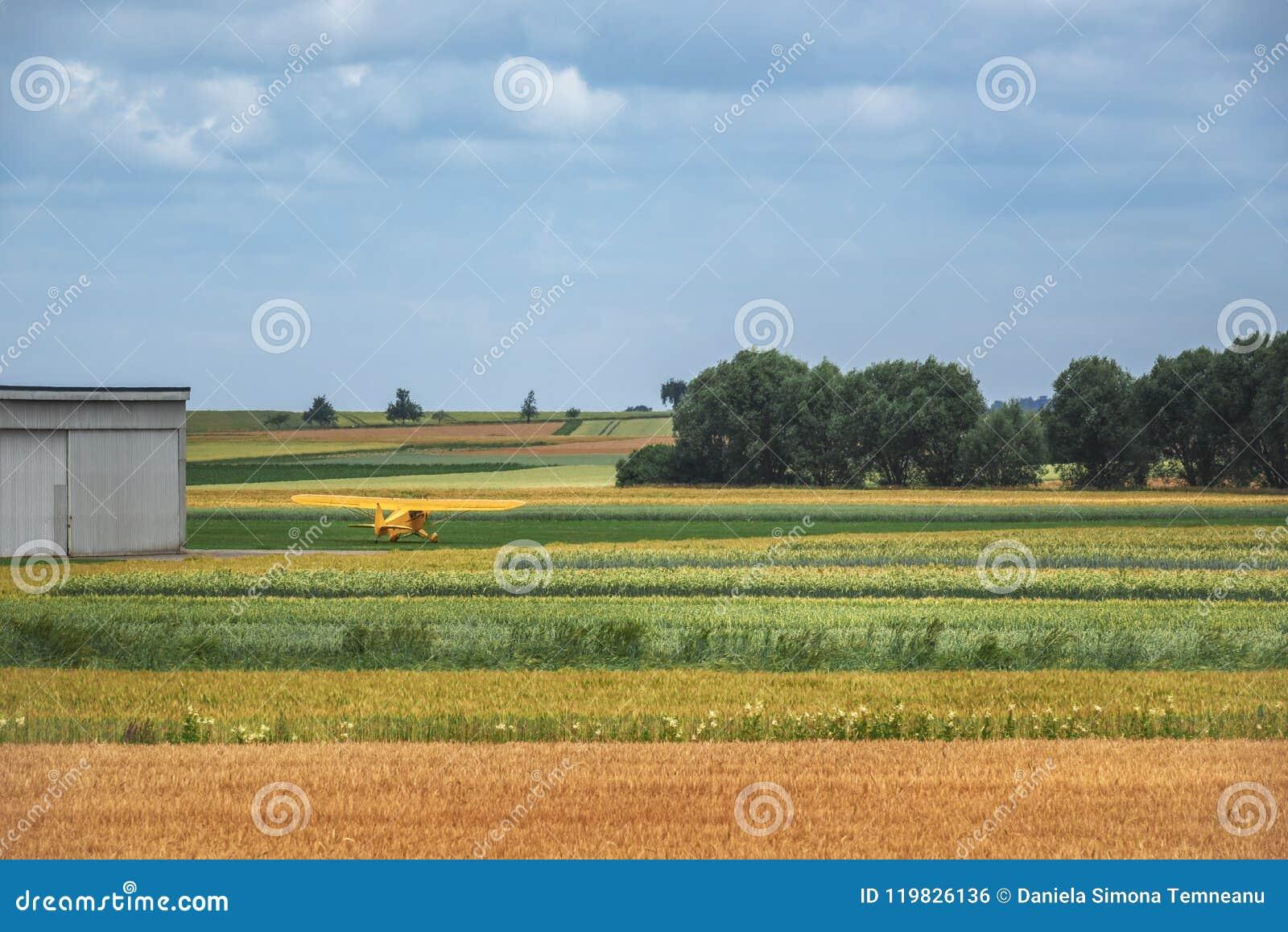 Champs agricoles multicolores et un avion