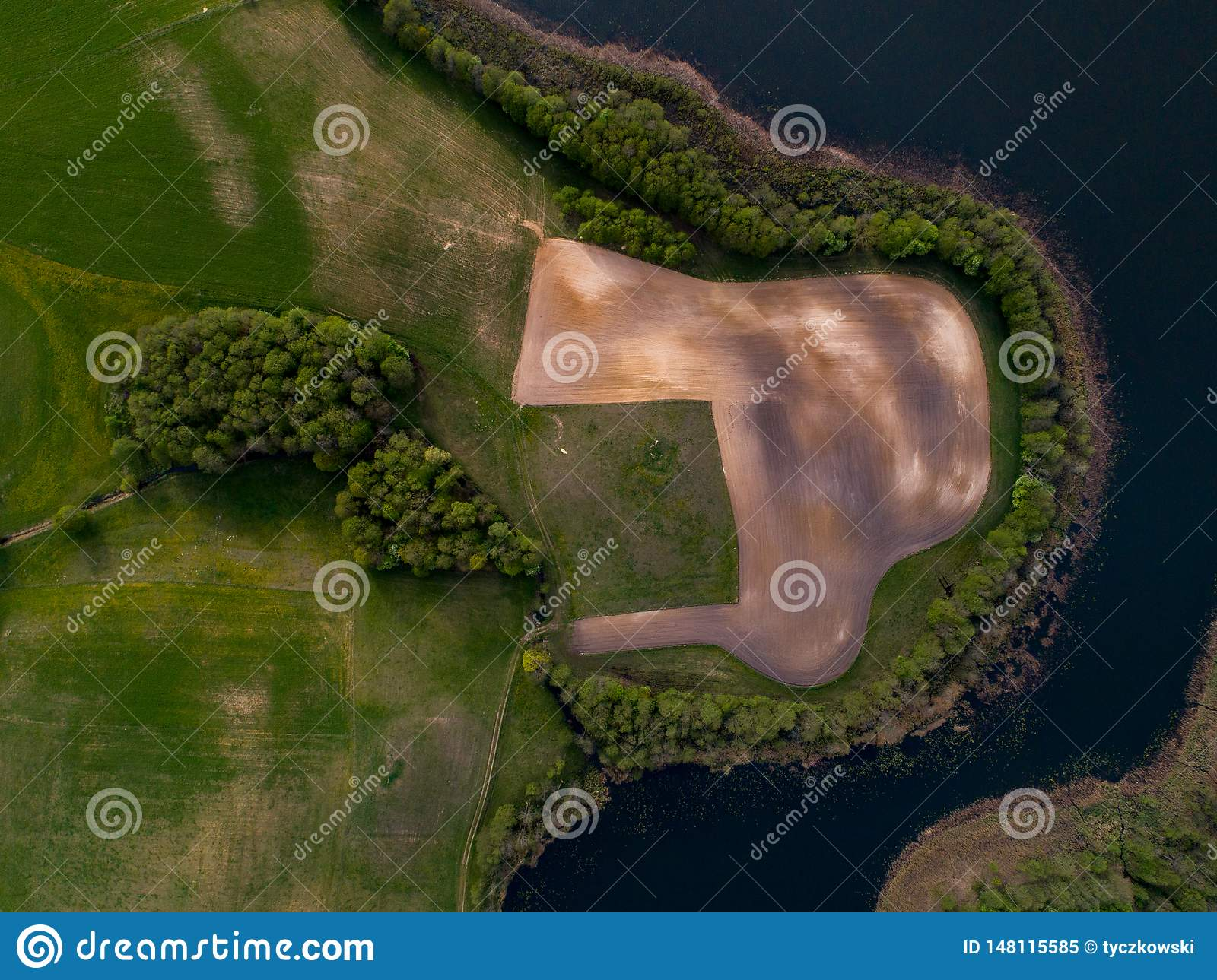 Champs et lac - photo aérienne