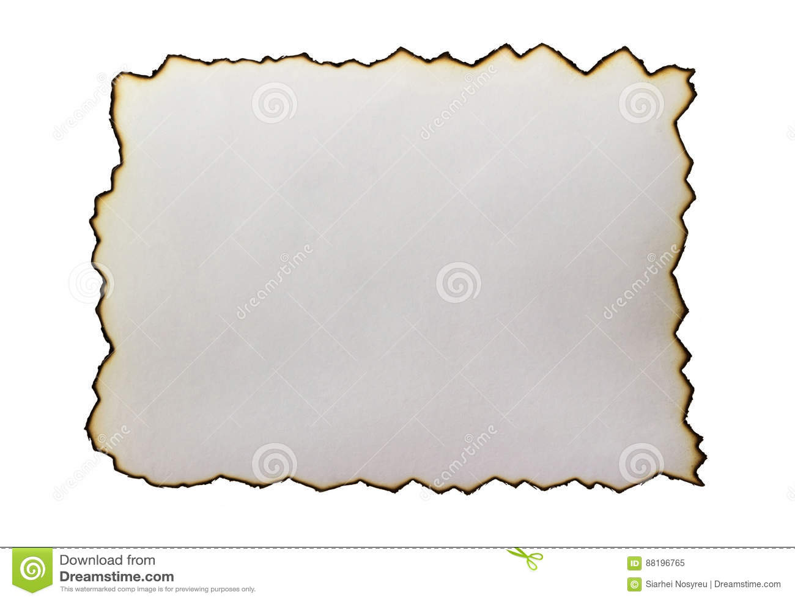 Chamuscado en los bordes del papel aislado