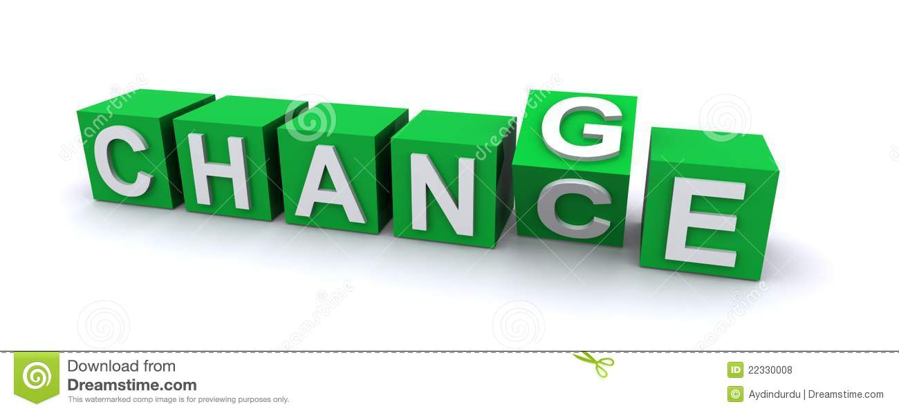 3d illustration of green blocks with word chance, one block rotating ...