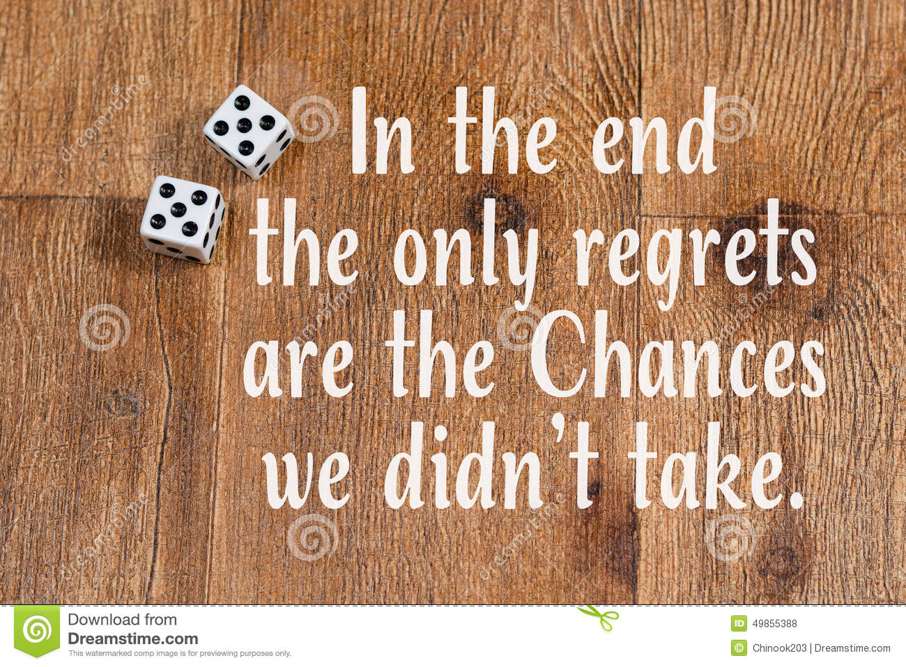 Chances In Life Quote Dice On Wood Background Stock Photo Image Of