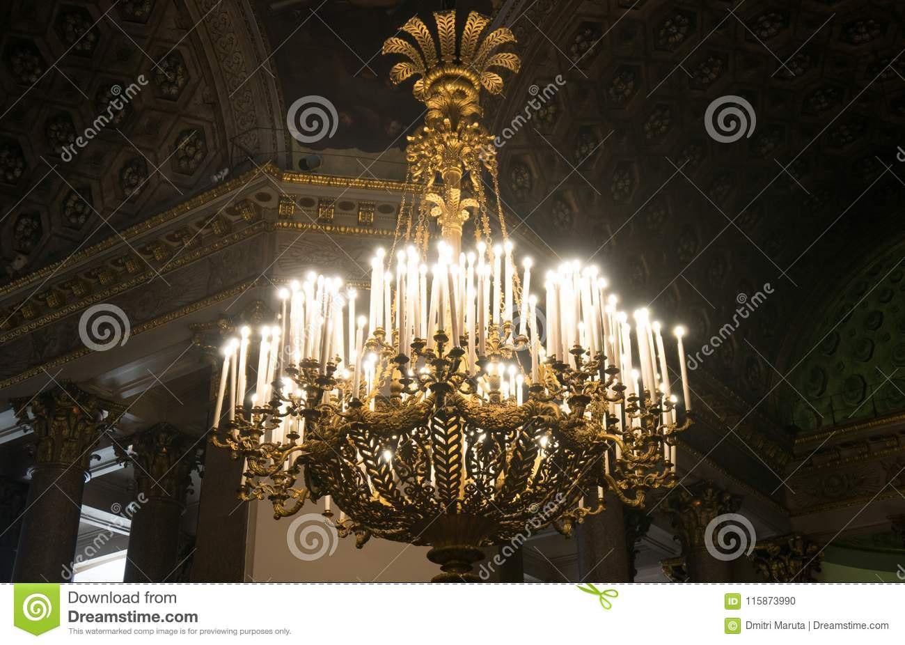 Chandelier with candles.