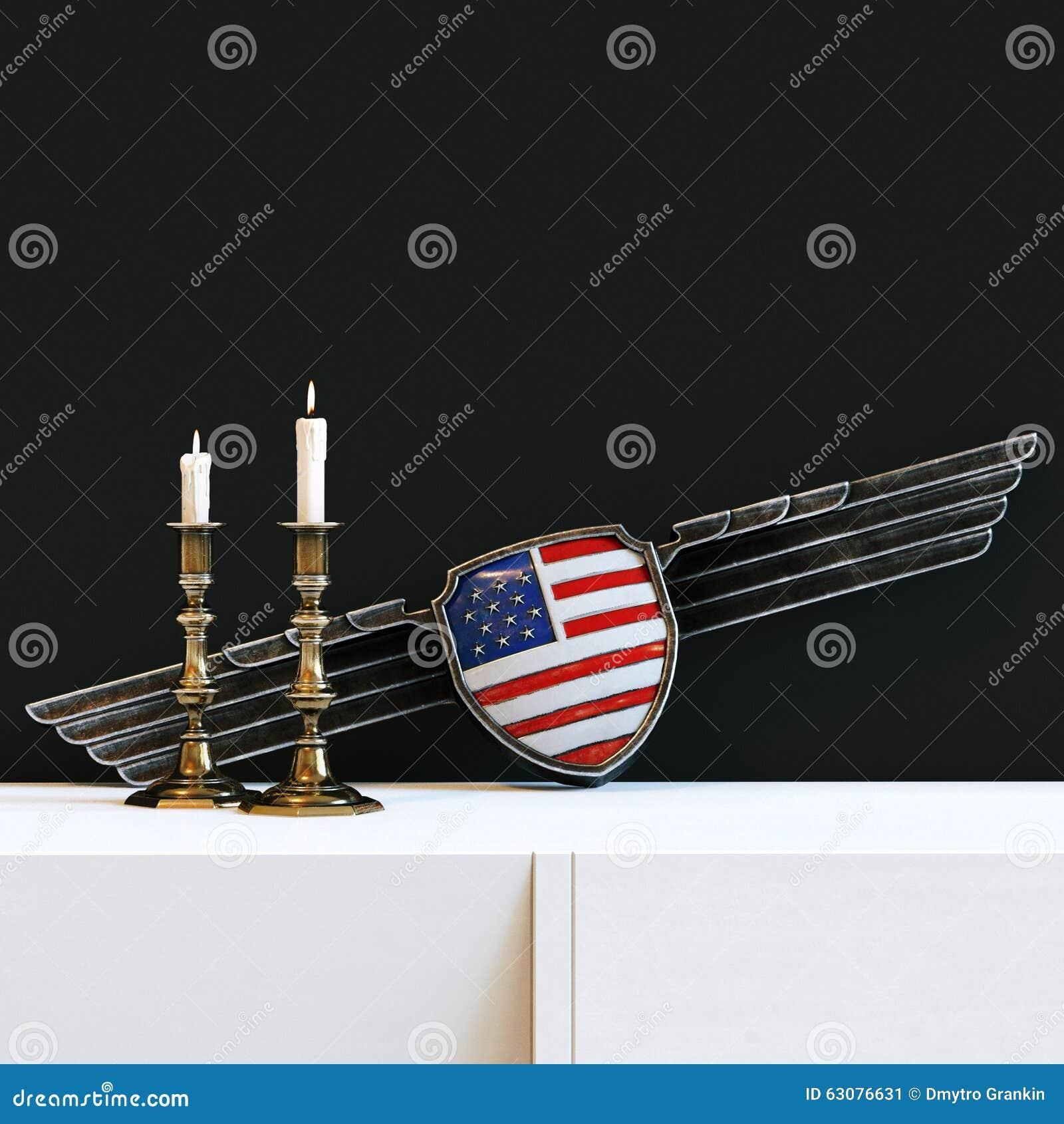 Download Chandelier De Vintage Avec Les Bougies Brûlantes Et Drapeau Des Etats-Unis En Métal W Illustration Stock - Illustration du bleu, illustration: 63076631