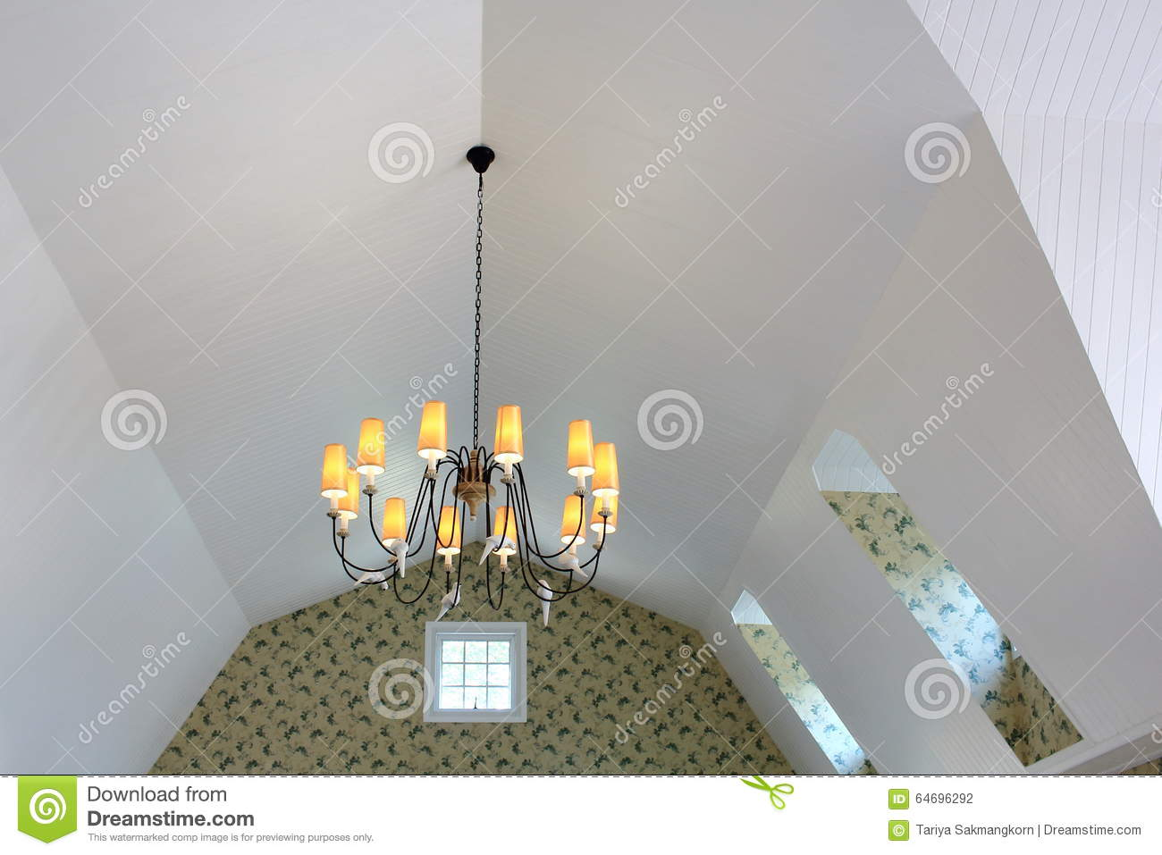 Chandelier Hang On Sloped Ceiling Stock Photo Image