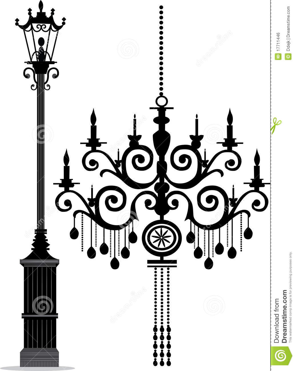 Chandelier & Lamp Post stock vector. Illustration of home - 17711446