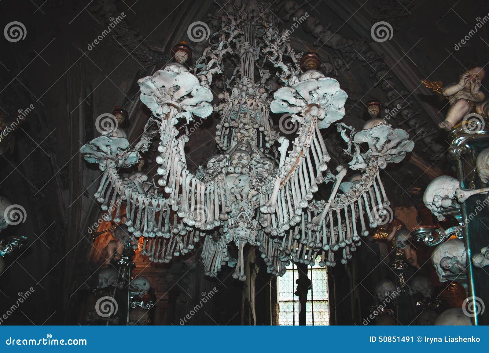 Chandelier Made On Natural Human Bones Kutna Hora Czeh Republic Stock Image