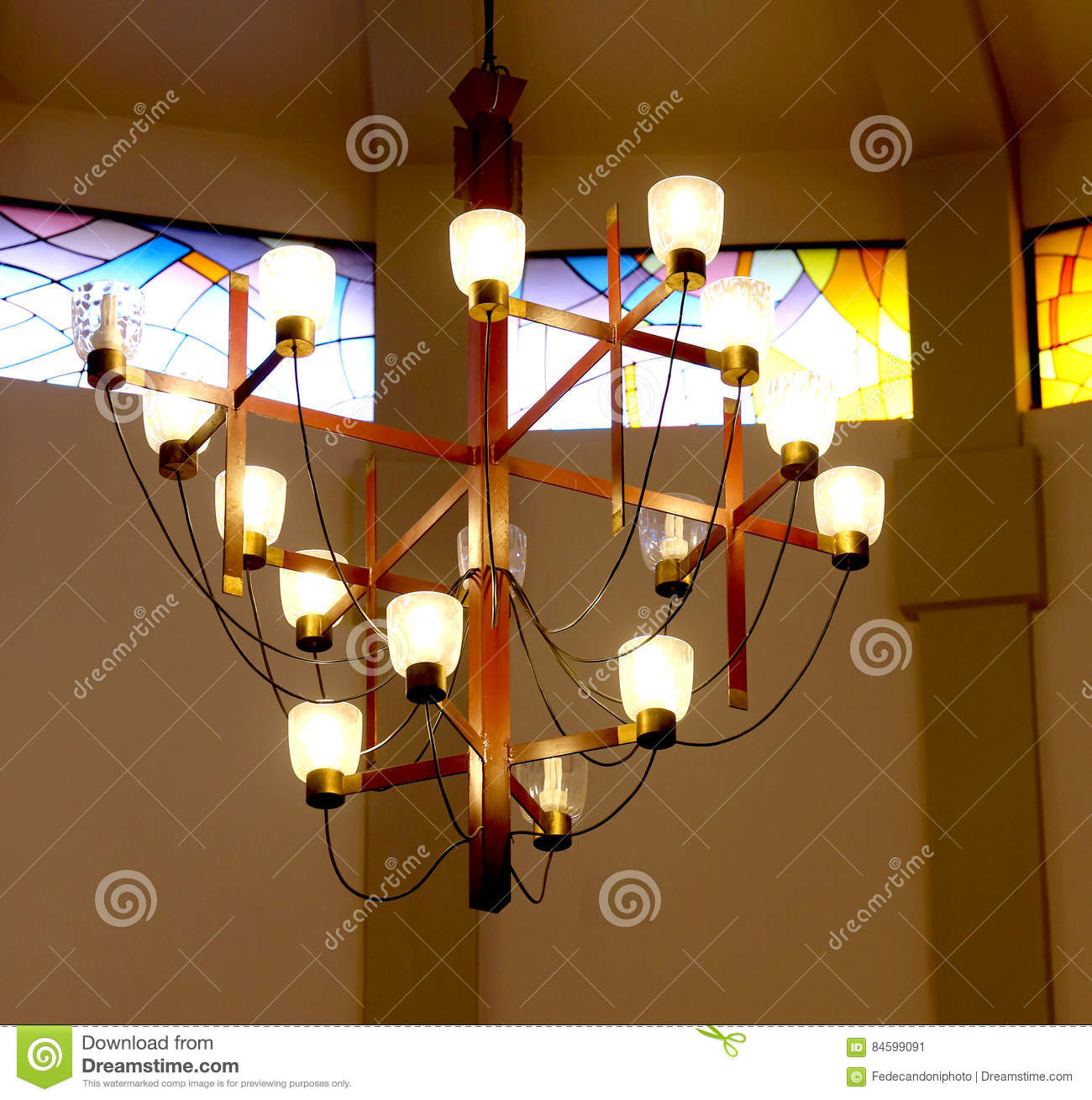 Chandelier With Many Light Bulbs Inside A Place Of Worship Stock ...