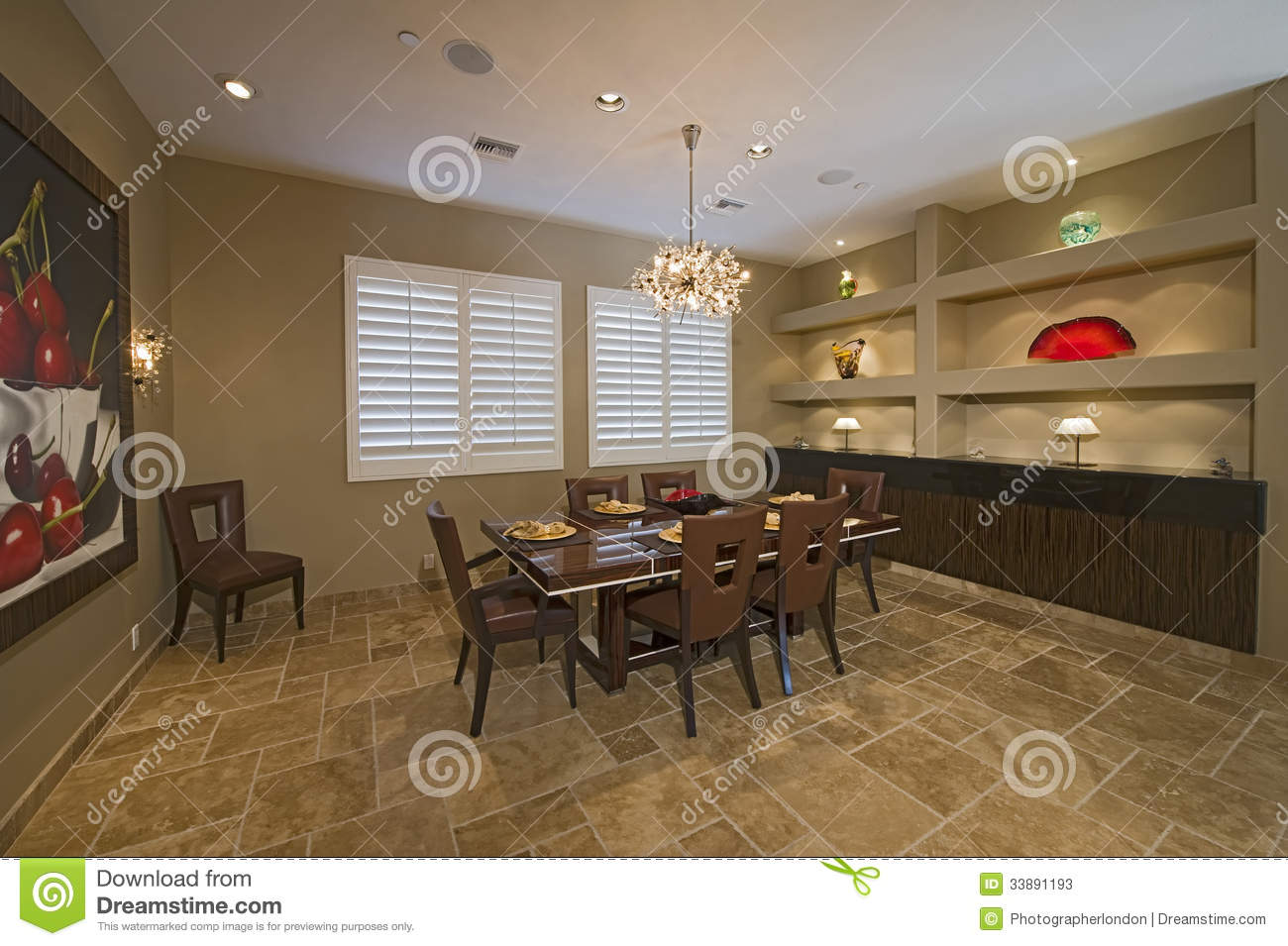 Chandelier Over Dining Table Stock Image Image Of Nobody