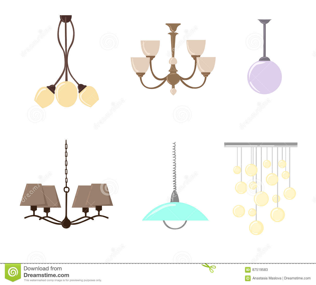 Hanging Lamp Vector: Chandelier Silhouette Isolated On White Background. Set Of