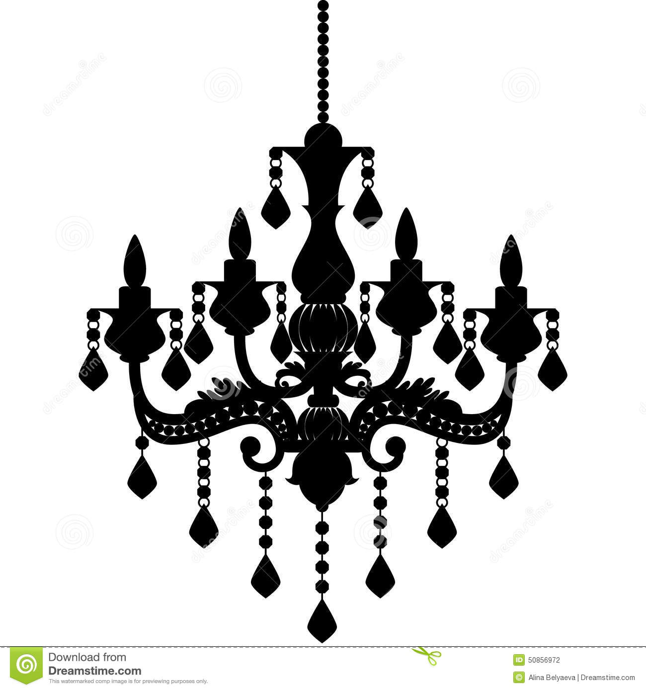 Chandelier Silhouette Isolated On White Background Stock