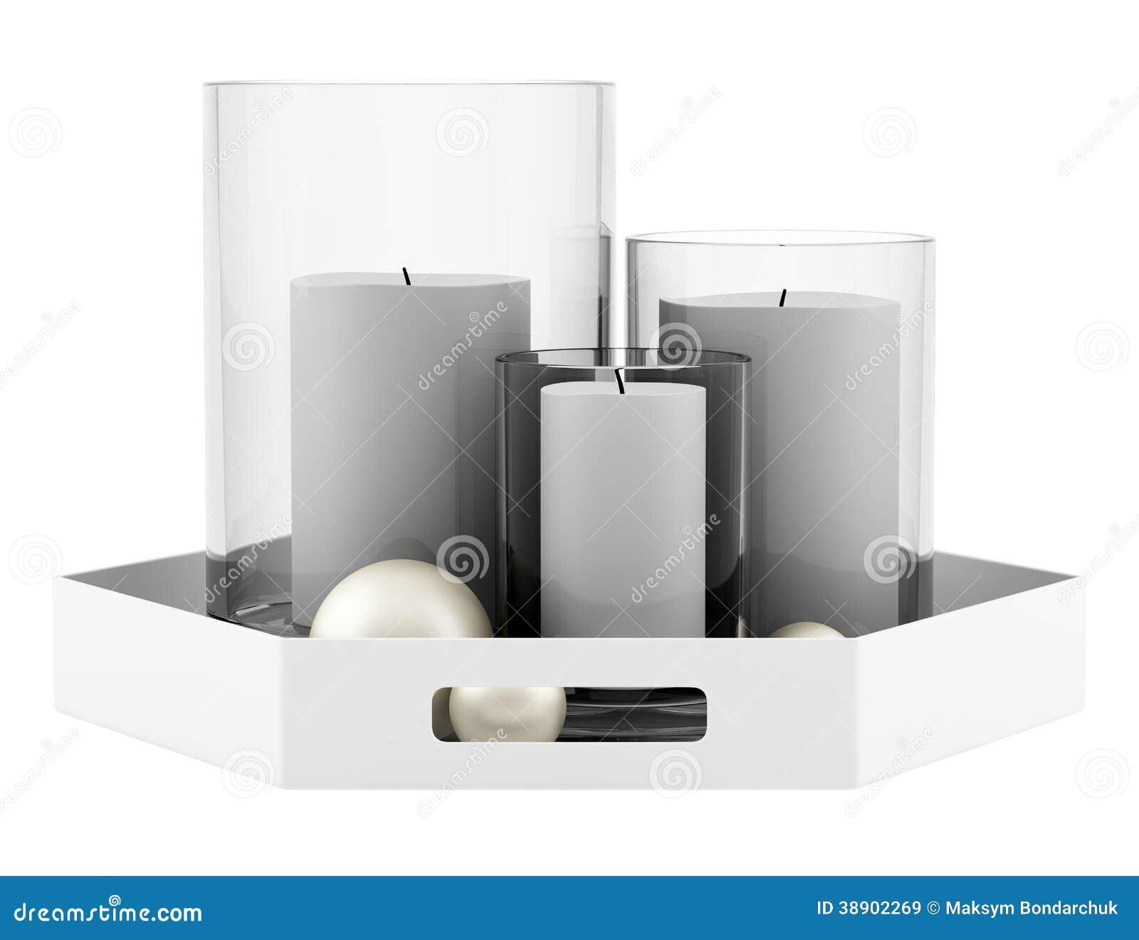 chandeliers en verre avec des bougies sur le plateau d. Black Bedroom Furniture Sets. Home Design Ideas