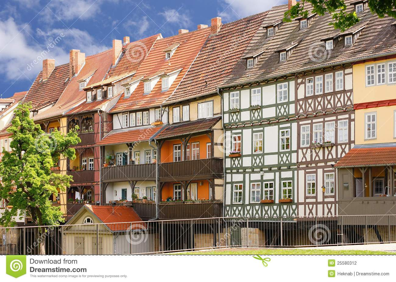 Chandler bridge erfurt with half timbered houses stock for Half timbered house plans