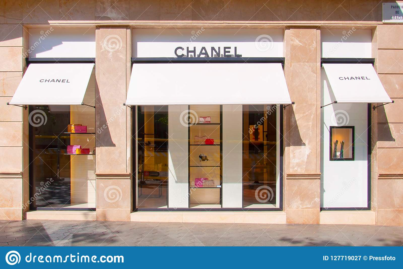 514cbec1b Chanel Brand Store In Barcelona, Spain Editorial Photography - Image ...
