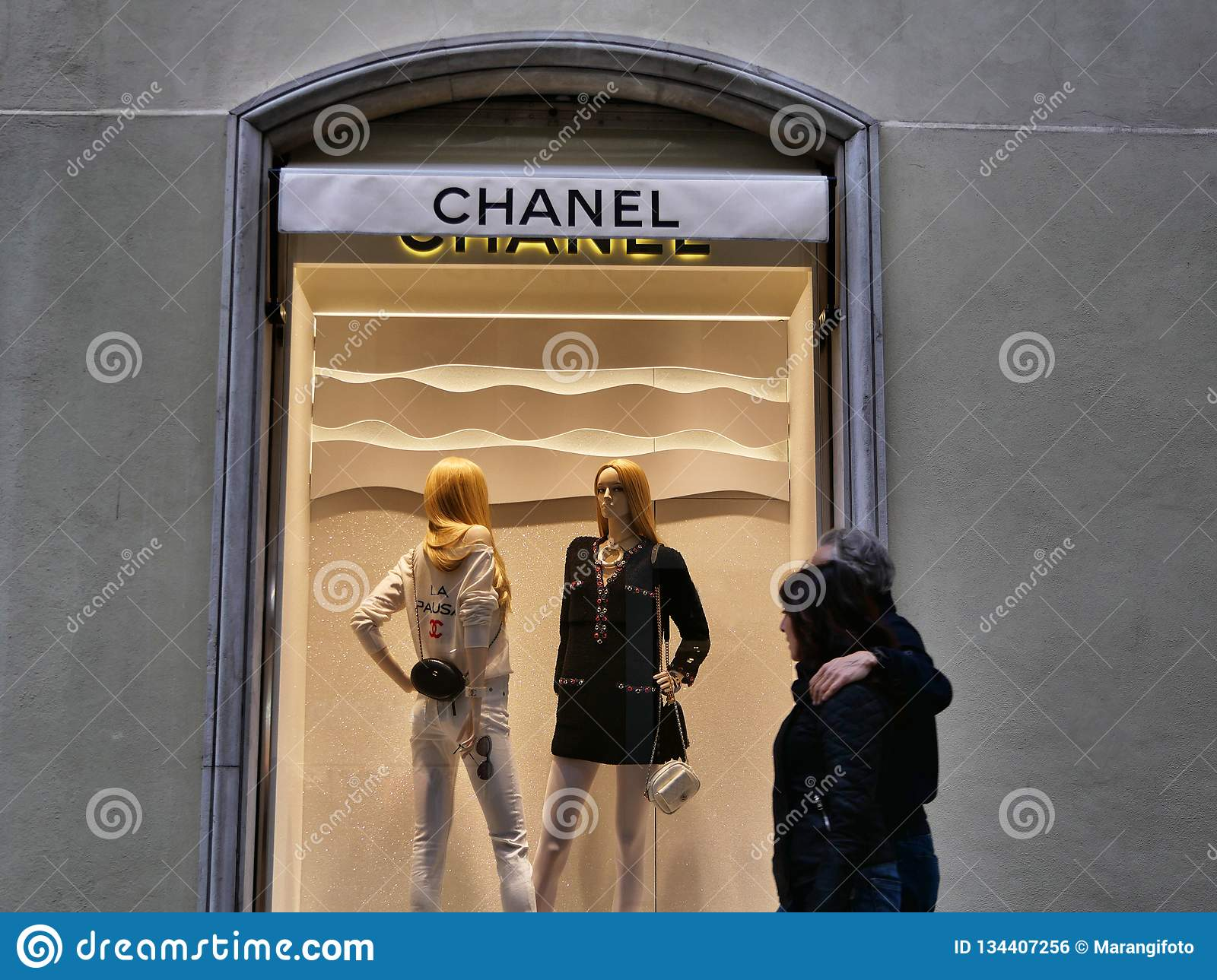 Chanel fashion shop window from outside