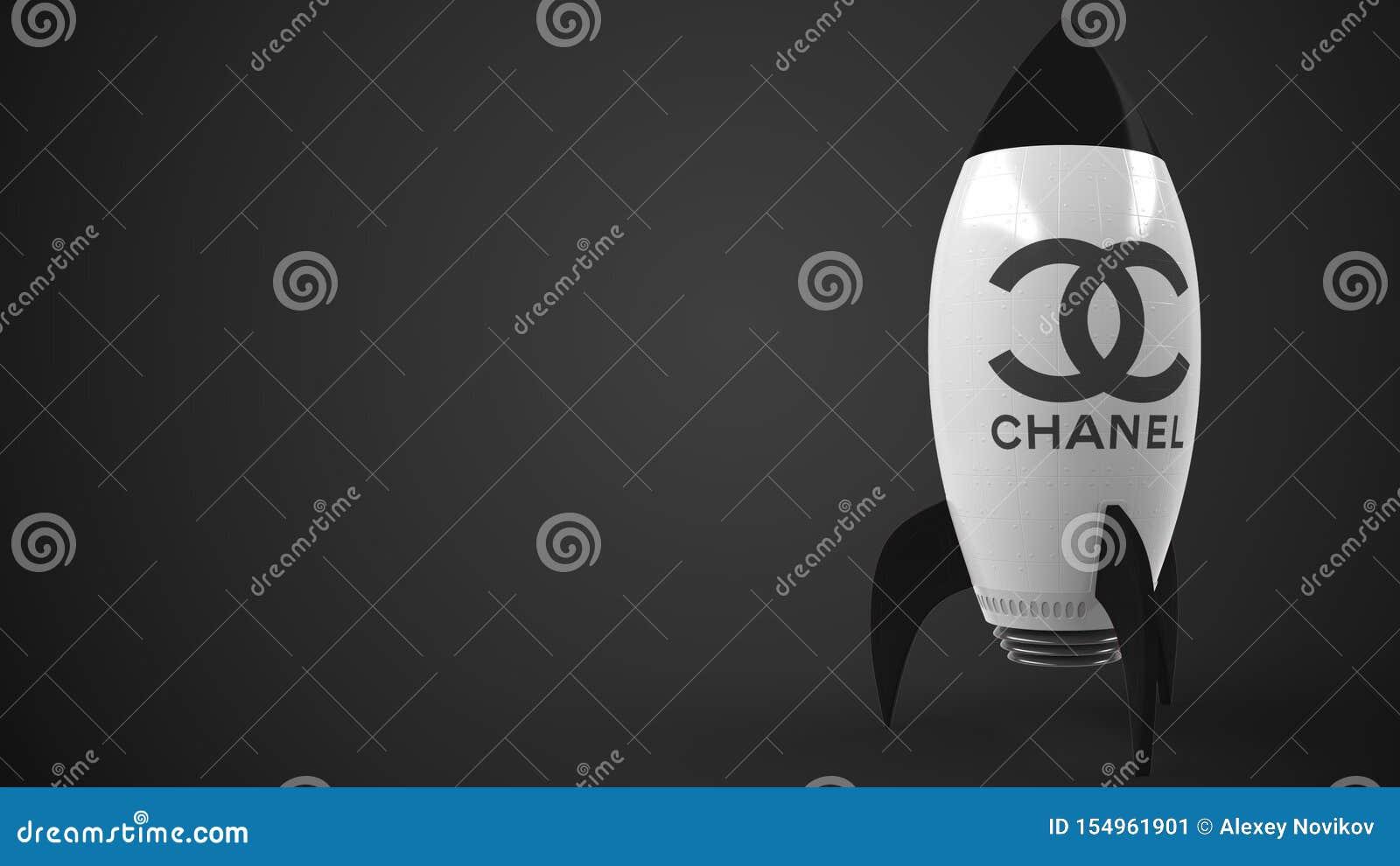 CHANEL logo mot en raketmodell Redaktörs- begreppsmässig framgång gällde tolkningen 3D