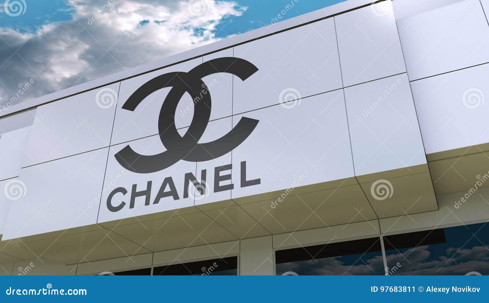 Chanel logo på den moderna byggnadsfasaden Redaktörs- tolkning 3D