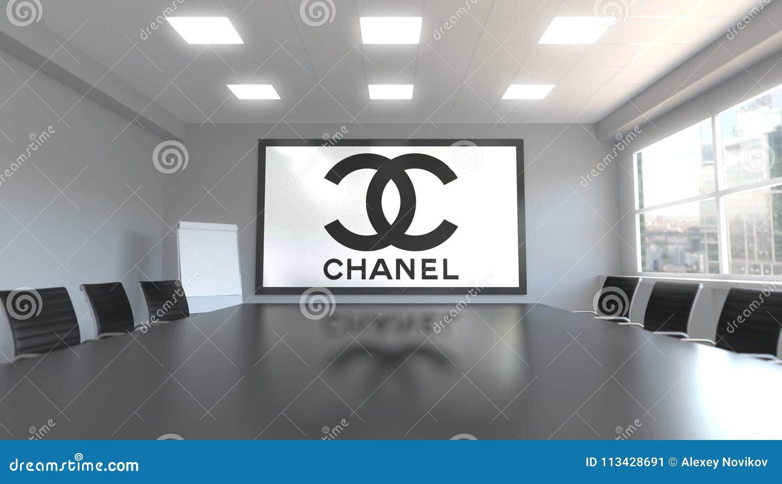 Chanel logo på skärmen i en mötesrum Redaktörs- tolkning 3D