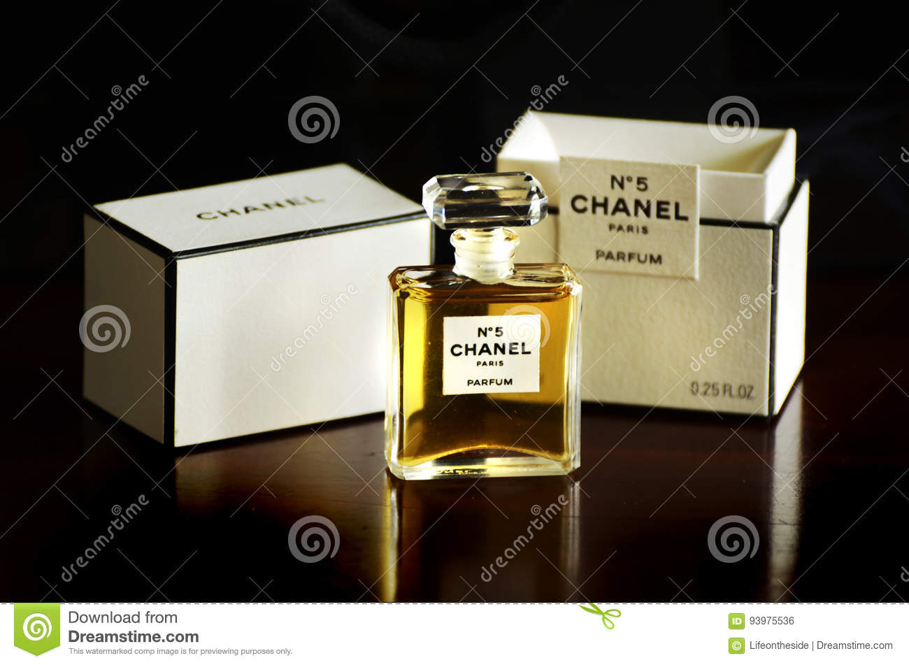 Chanel No 5 french perfume parfum bottle box isolated dark background