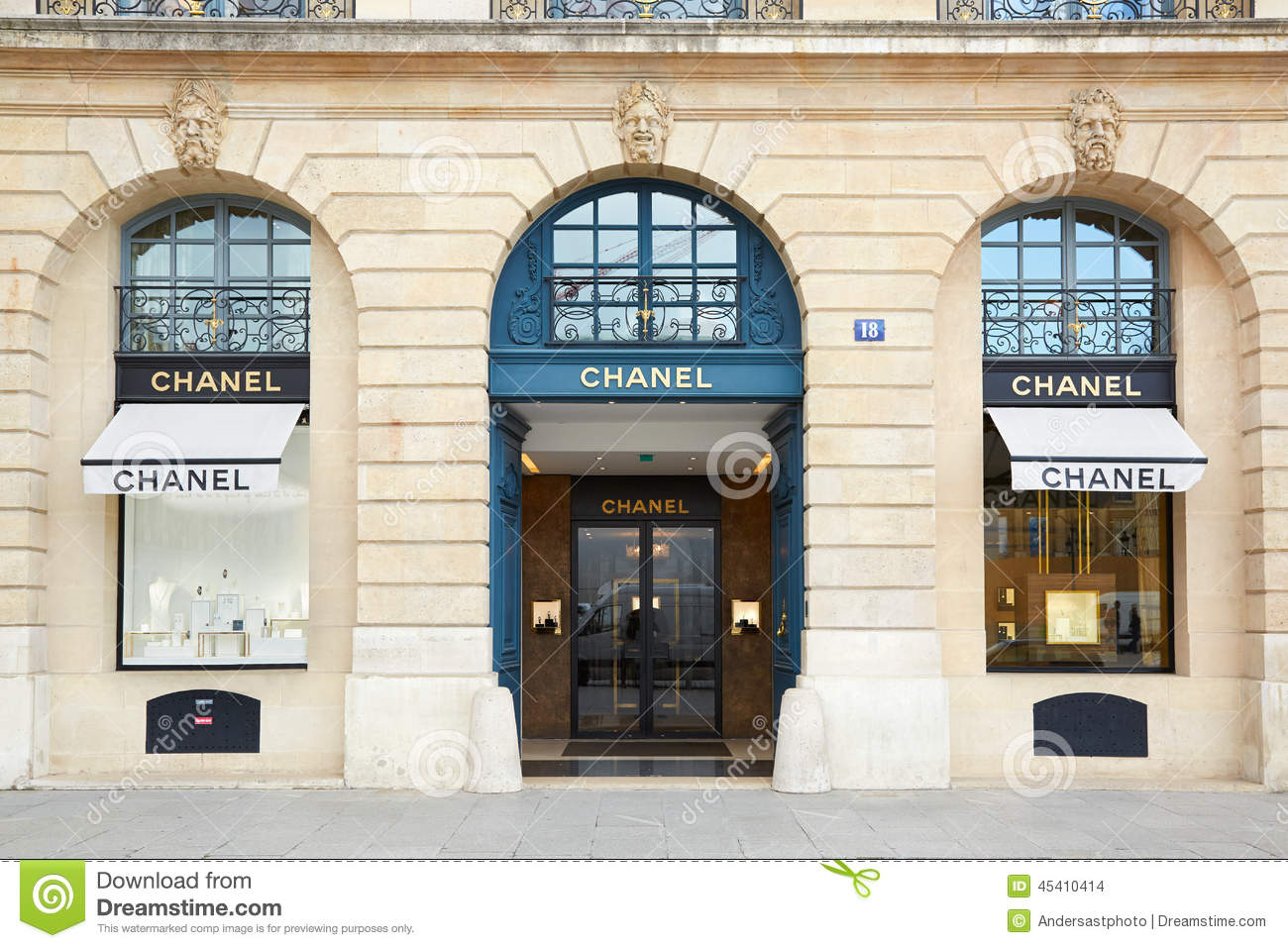 chanel shop in place vendome in paris editorial stock image image 45410414. Black Bedroom Furniture Sets. Home Design Ideas