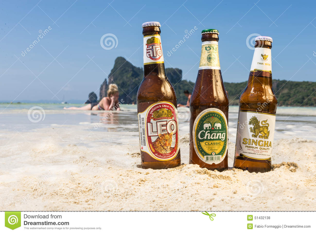 Chang,Singha And Leo Beer On The Beach Editorial Stock ...