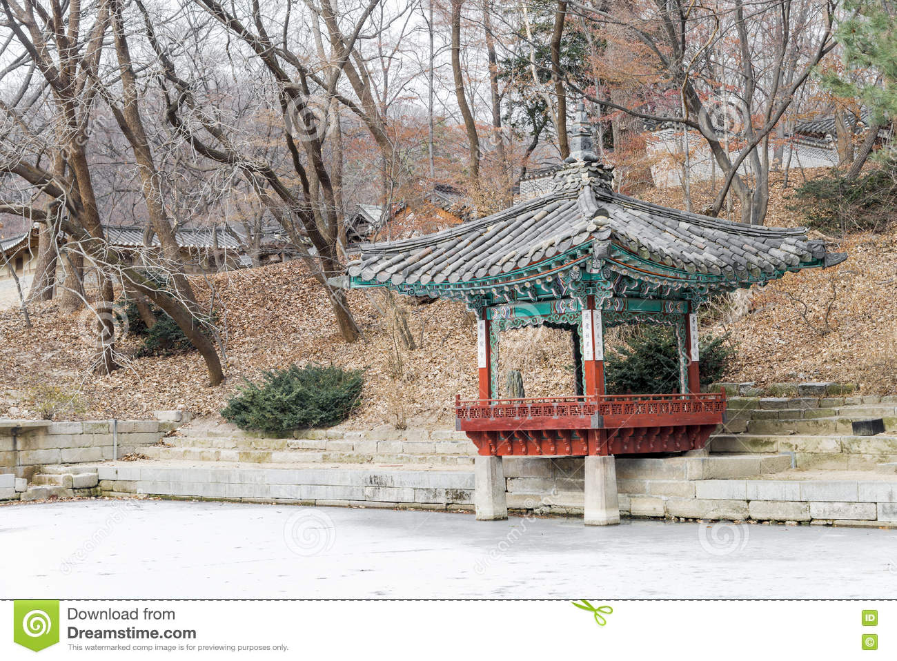 Download Changdeok Palace Or Changdeokgung   Secret Garden Pagodas And Cr  Stock Image   Image Of