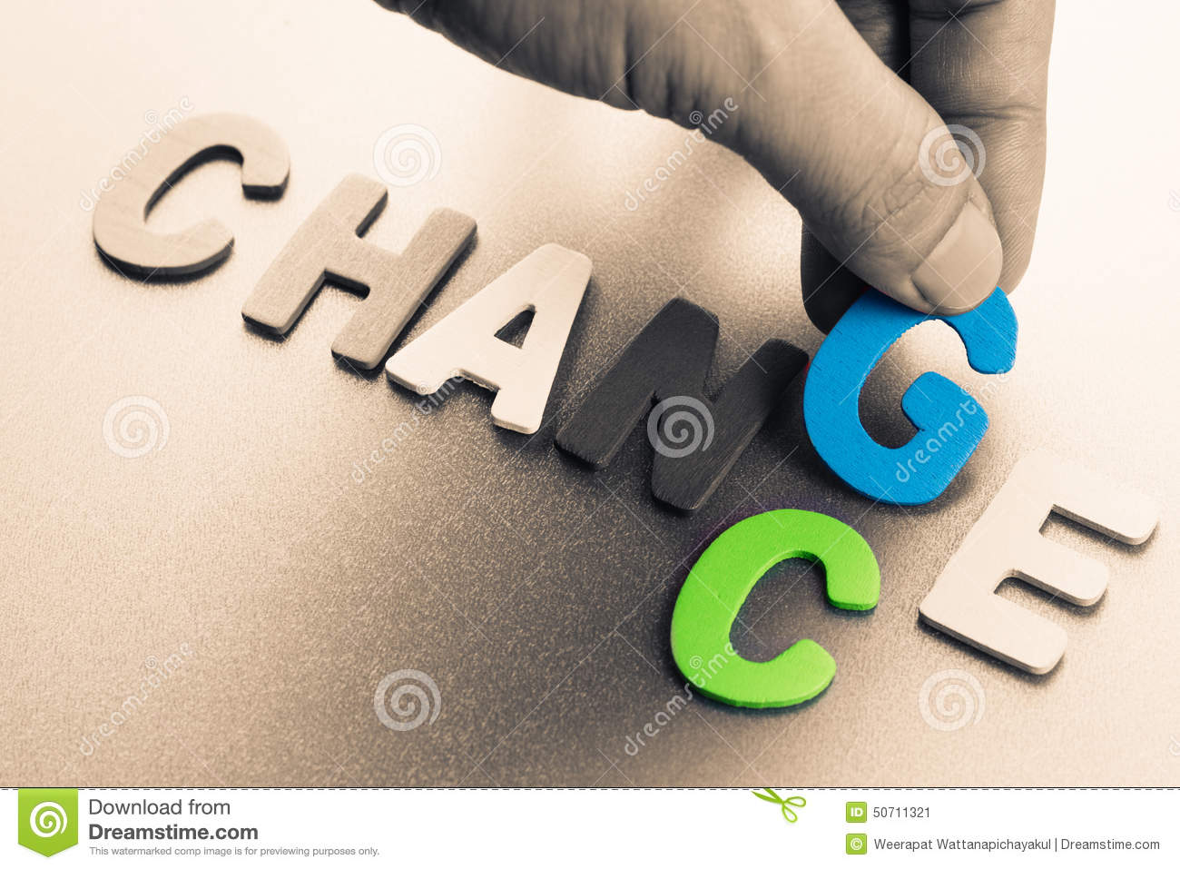 Hand arrange wood letters as Change and Chance word concept.