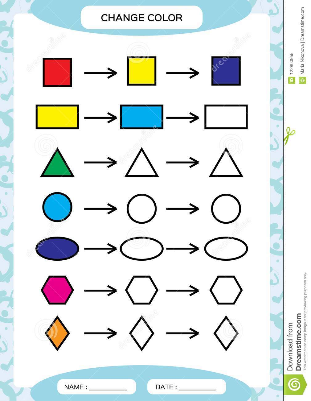 Change color colorful shapes learning basic shapes color trace learning basic shapes color trace and draw worksheet for preschool kids practicing motor skills square circle oval triangle on blue vector ibookread Read Online