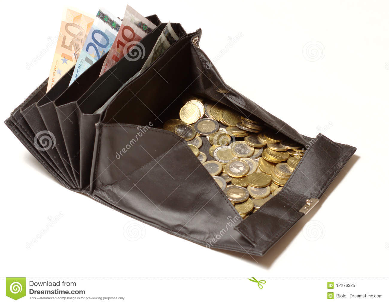 Change Purse With Euro Coins And Bills Stock Image Image Of Note Currency 12276325