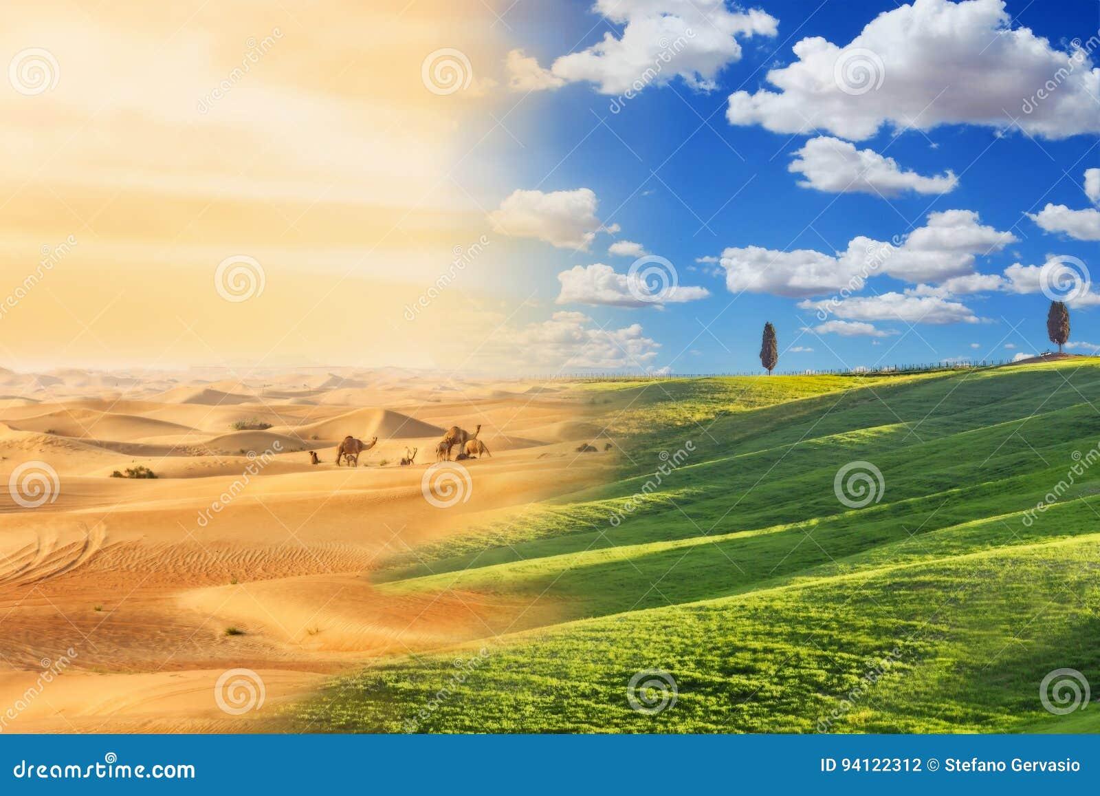 Changement climatique avec le procédé de désertification