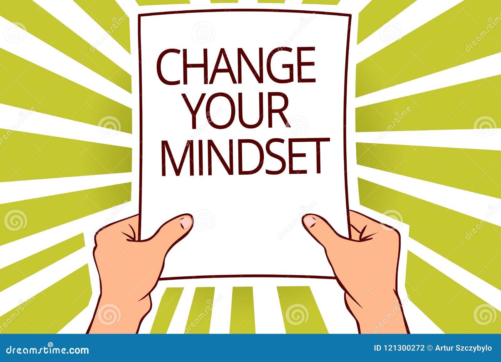 Changement d apparence de signe des textes votre mentalité La photo conceptuelle remplacent votre rapport mental de capital de pa