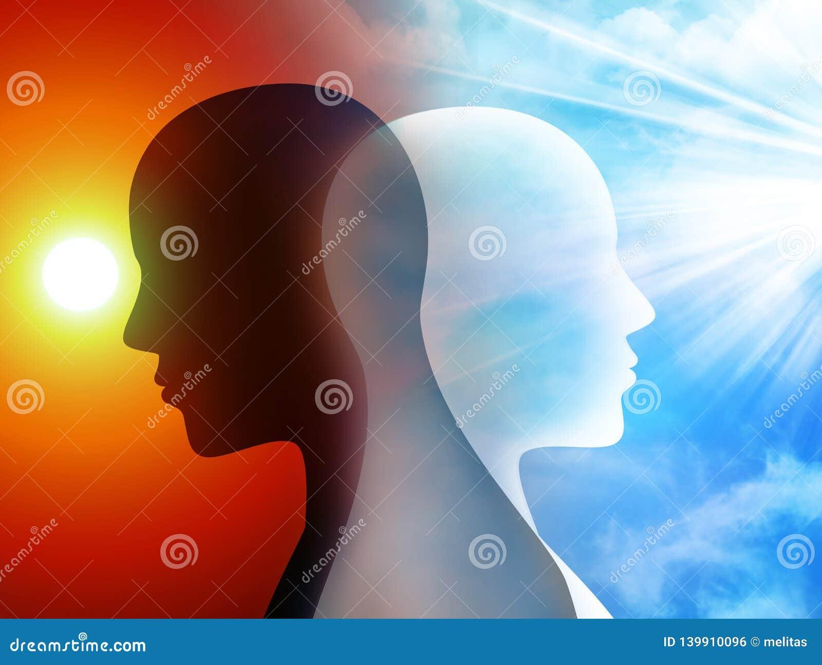 Changement de concept d humeur émotions Esprit de trouble bipolaire mental Double personnalité Têtes de silhouette de l homme