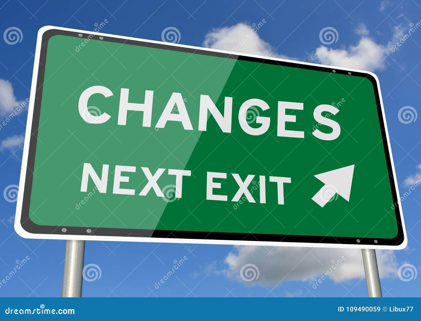 Changes signpost roadsign next exit blue sky