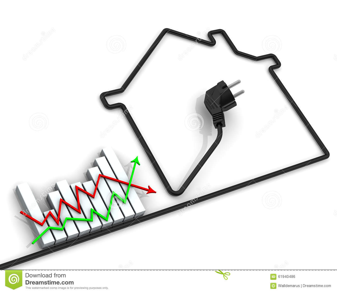 Changes In Tariffs For Electricity Concept Stock Illustration Electrical Wiring Houses Graph And Contour Made Of Wire Financial