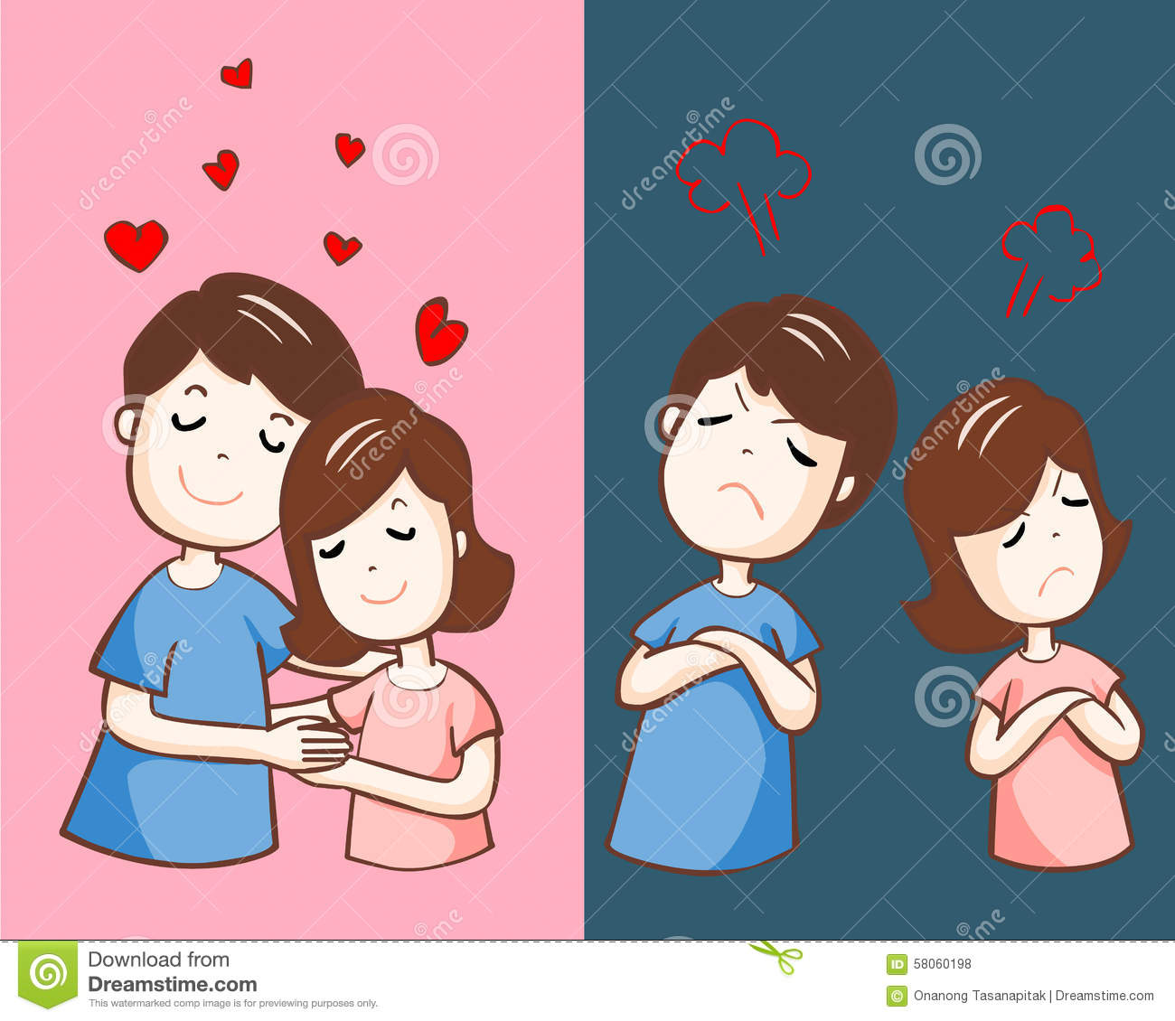 Love Each Other Cartoon: Changing Couple Relationship Cartoon Illustration Stock