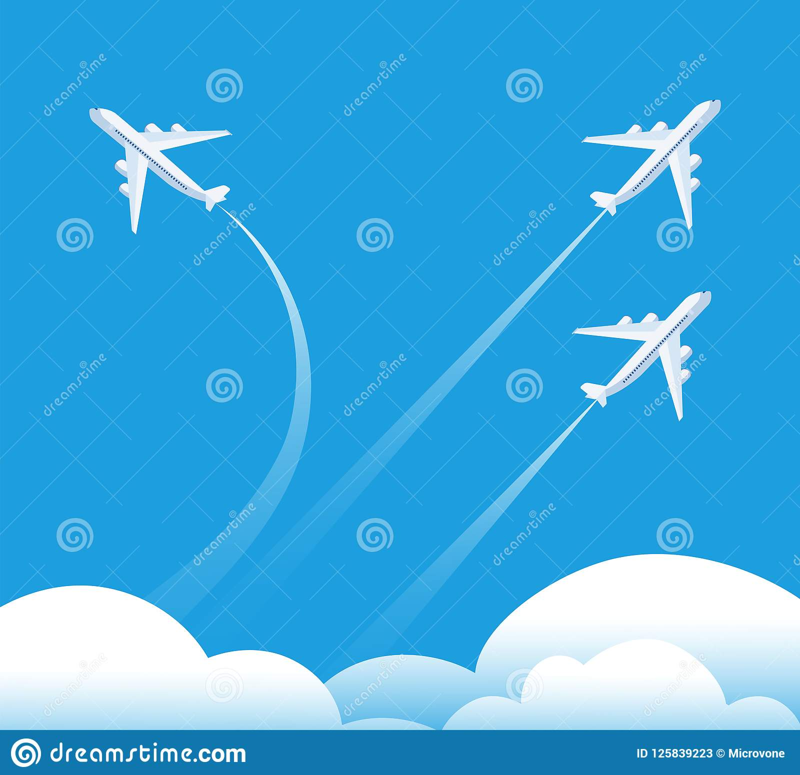 Changing direction concept. Airplane flying in different direction. New trend, unique idea and innovation way business
