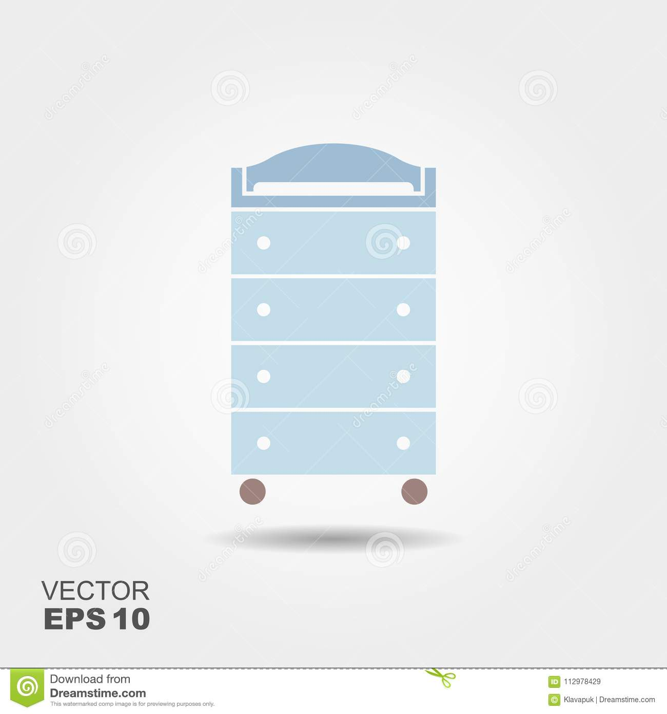 Changing table. Flat vector icon