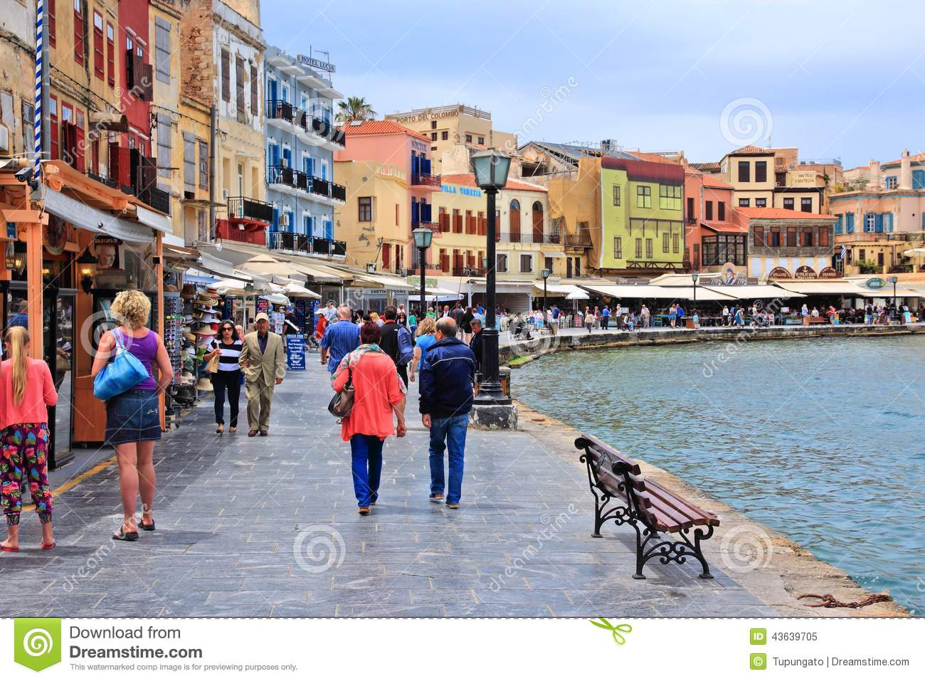 CHANIA, GREECE - MAY 18, 2014: People visit Old Town of Chania, Crete ...