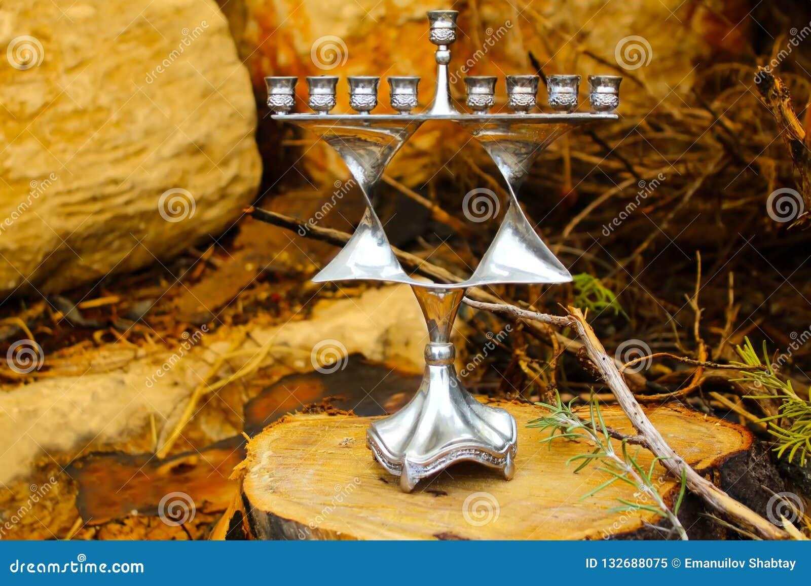 Chanoeka menorah Joodse kandelaar in Jodenster van de stijl de Joodse ster Achtergrond: gezaagde houten stomp en natuurstenen Bee