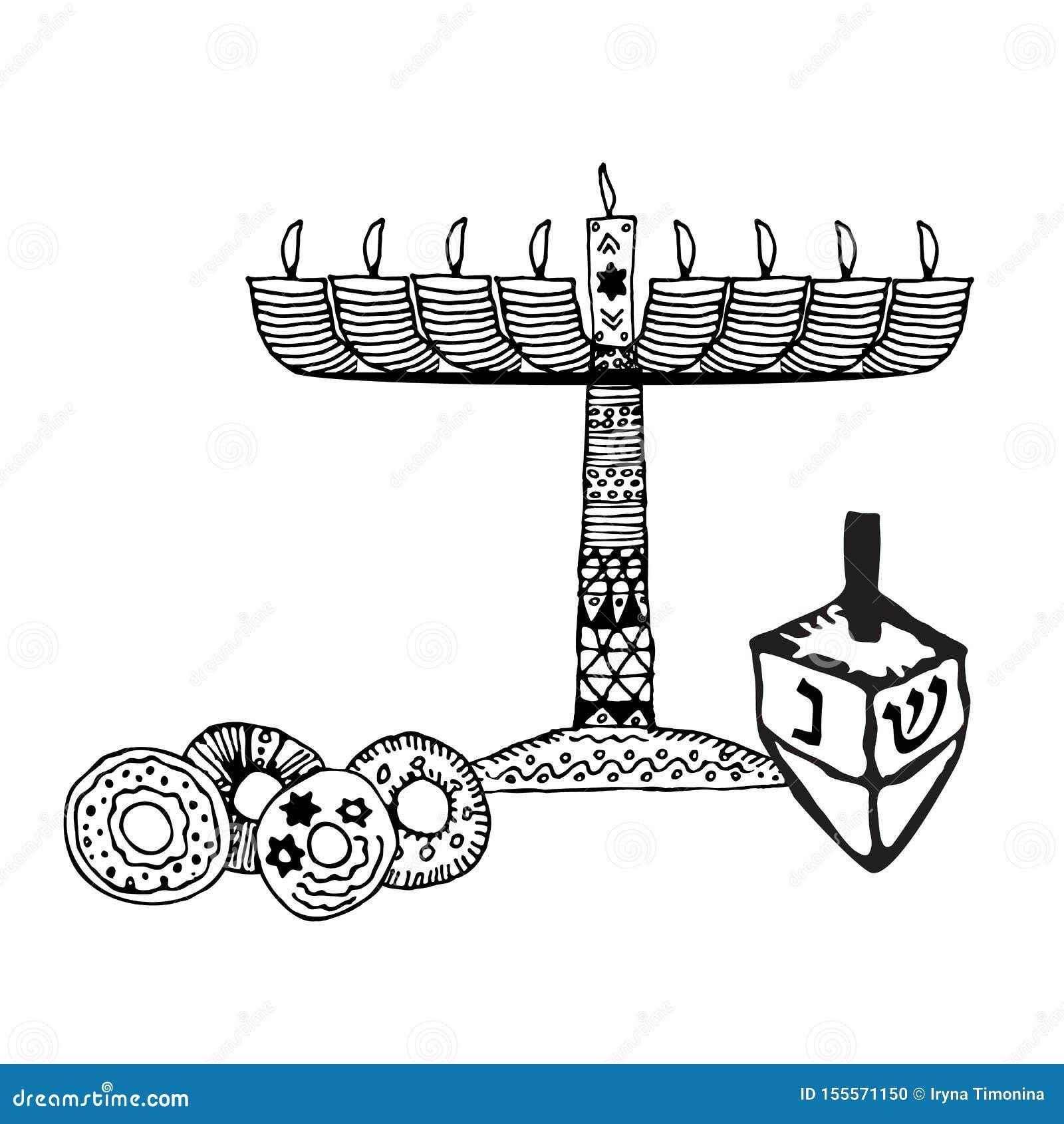Chanoekakaars, sevivon, donuts De krabbel, schets, trekt hand Joodse godsdienstige vakantie van Chanoeka Hebreeuwse brieven