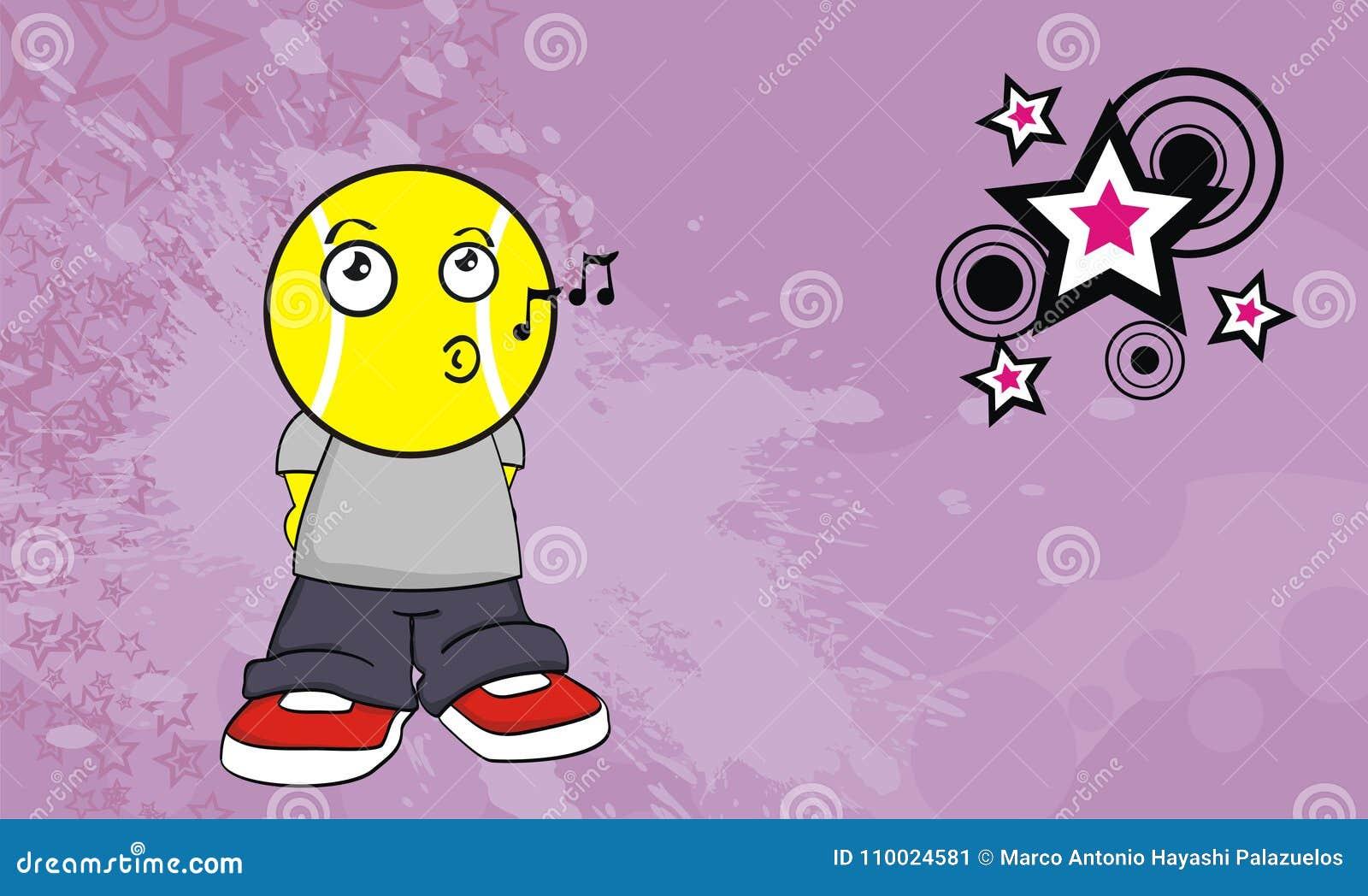 Chantez le fond de cadre de tableau d expression de bande dessinée de chef de boule d enfant de tennis