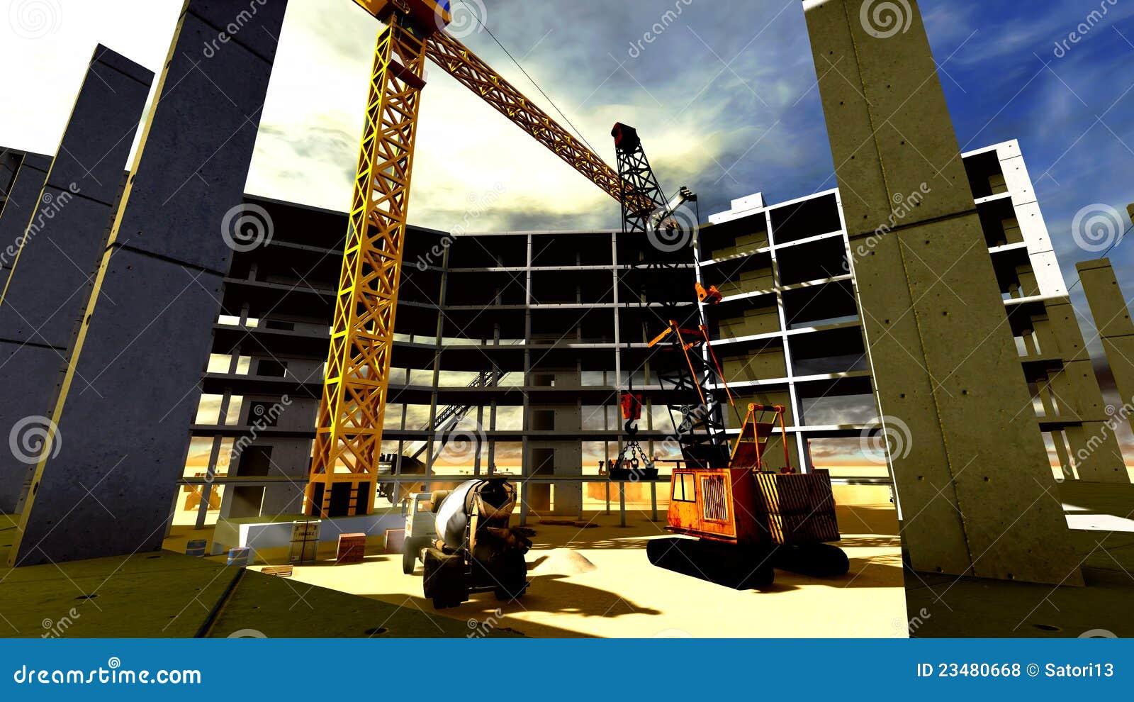 Chantier de construction illustration stock illustration for Chantiers de construction