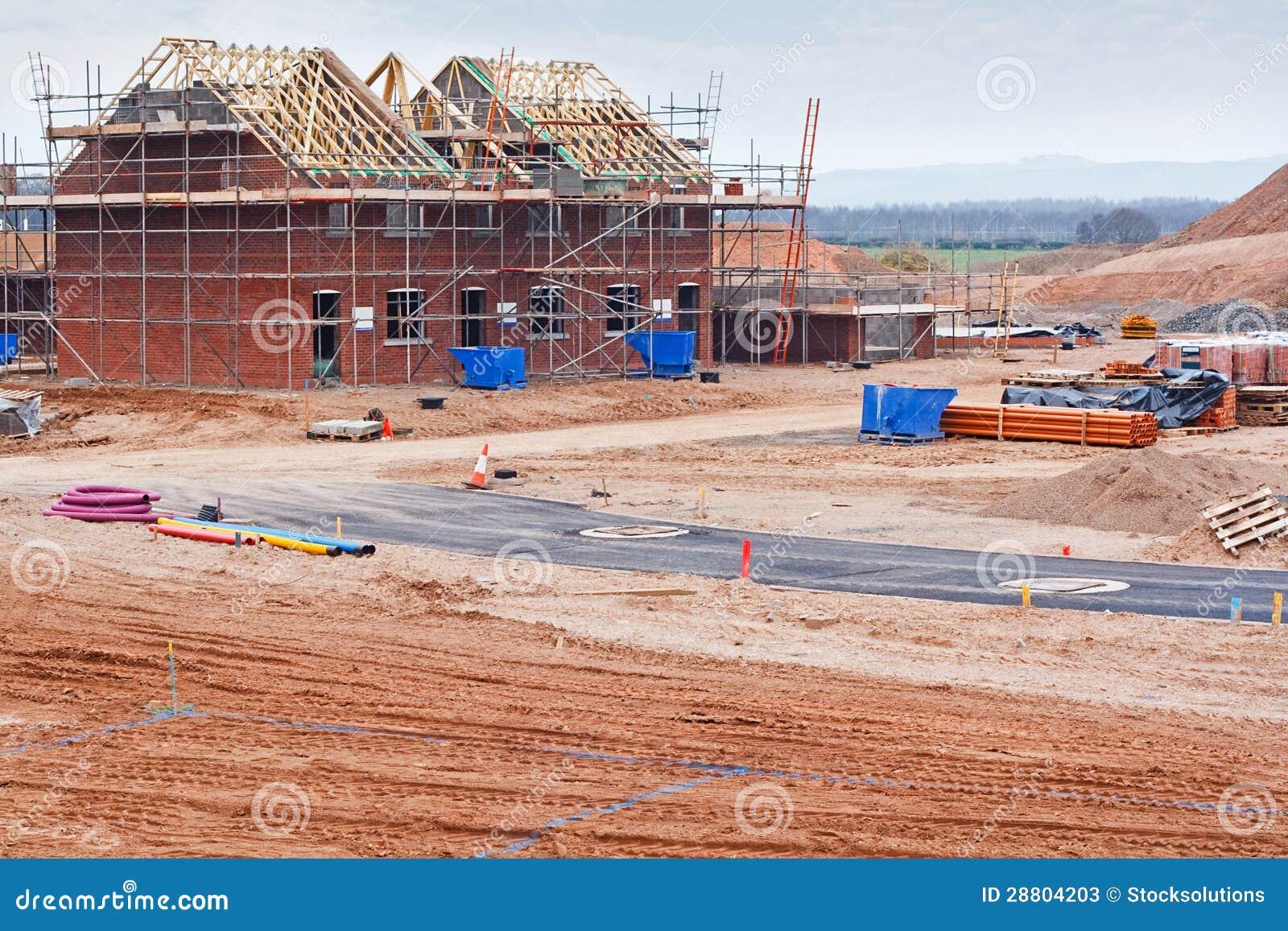 Chantier de construction neuf de lotissement image stock for Prix construction neuf