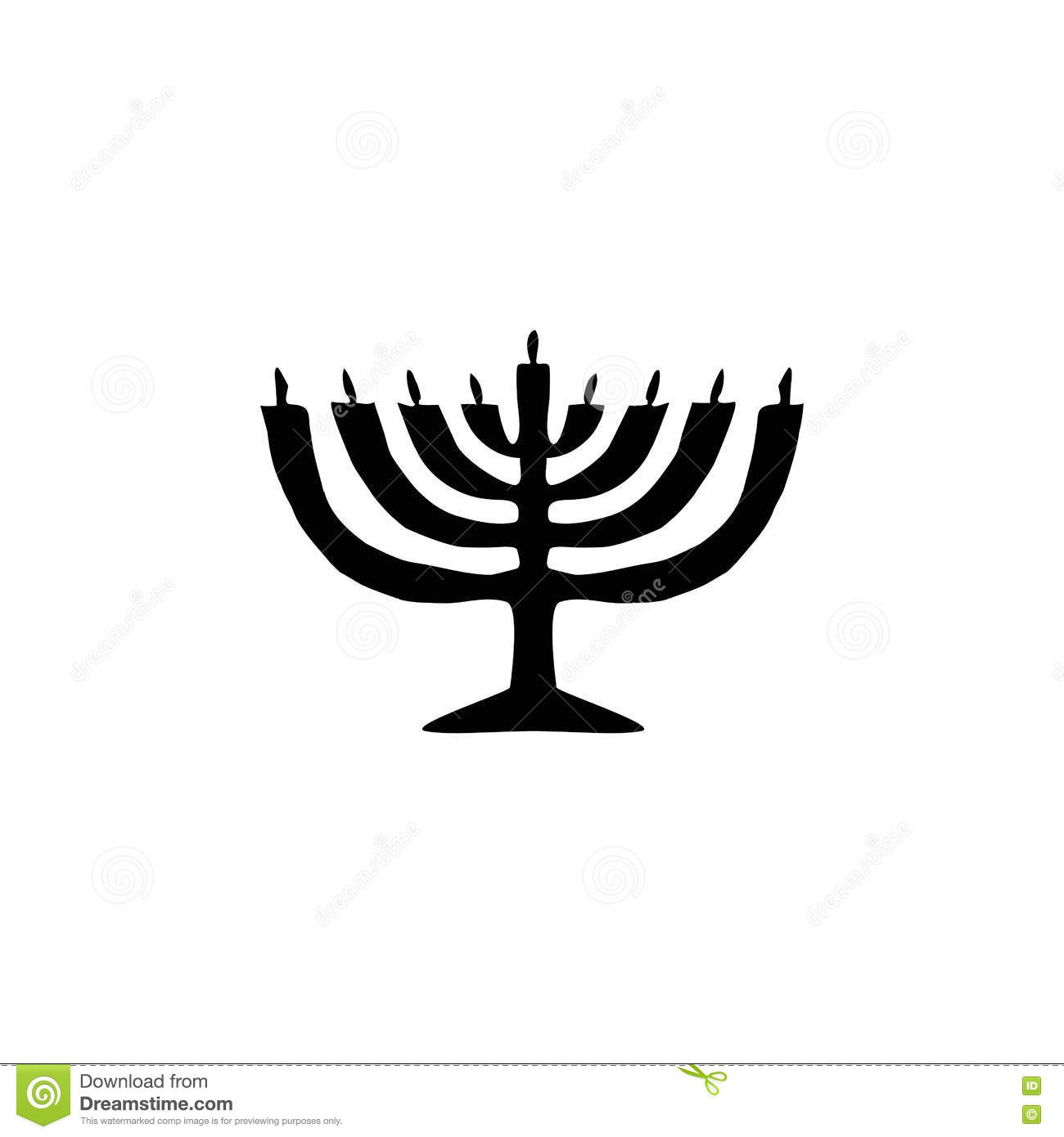Chanukah candle black silhouette. Jewish religious holiday of Hanukkah. Vector illustration on isolated background