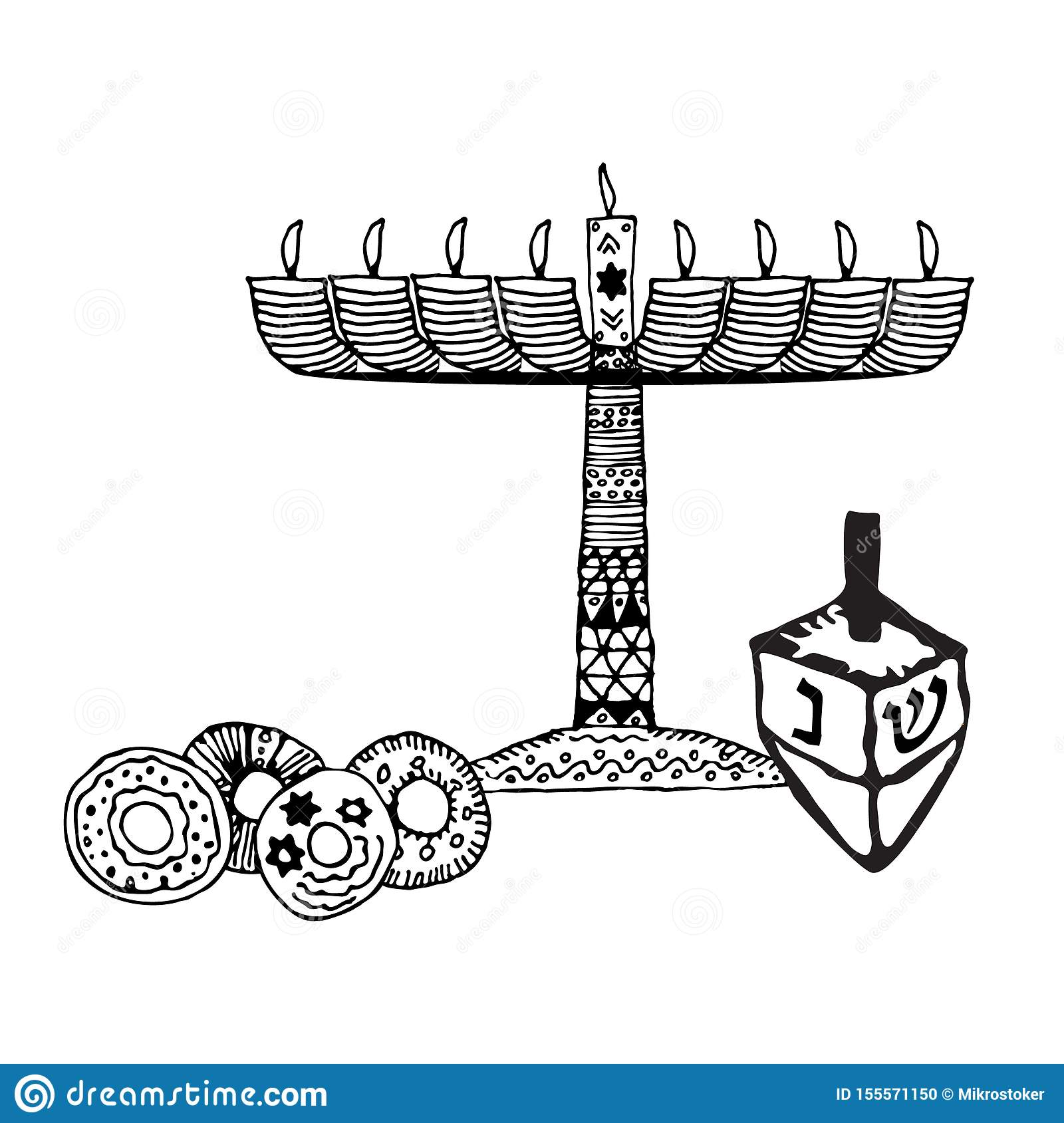 Chanukah candle, sevivon, donuts. Doodle, sketch, draw hand. Jewish religious holiday of Hanukkah. Hebrew letters