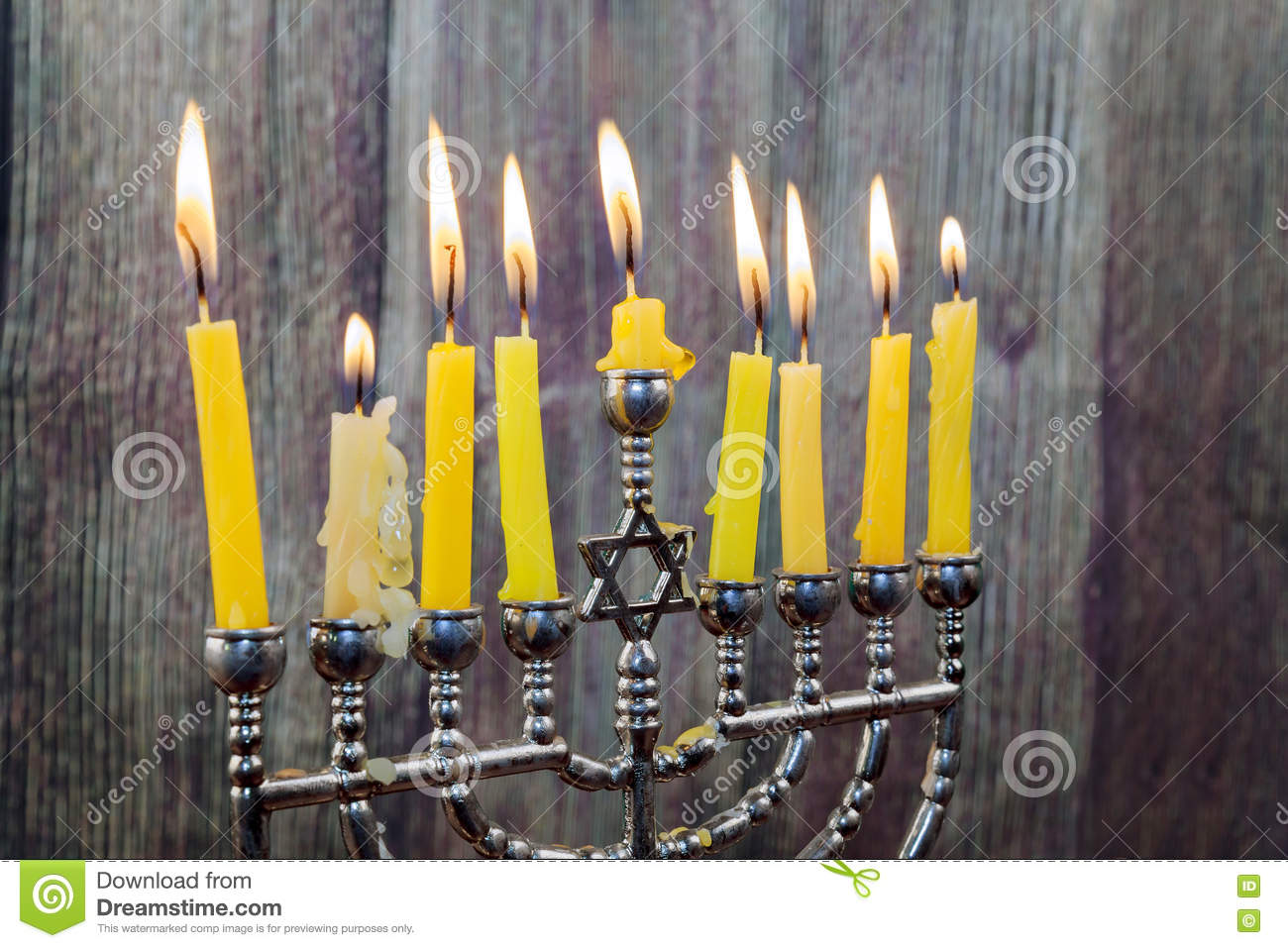 Download Chanukah Candles All In A Row. Bright, Shiny The Jewish Holiday. Stock Photo - Image of colors, festival: 76948342