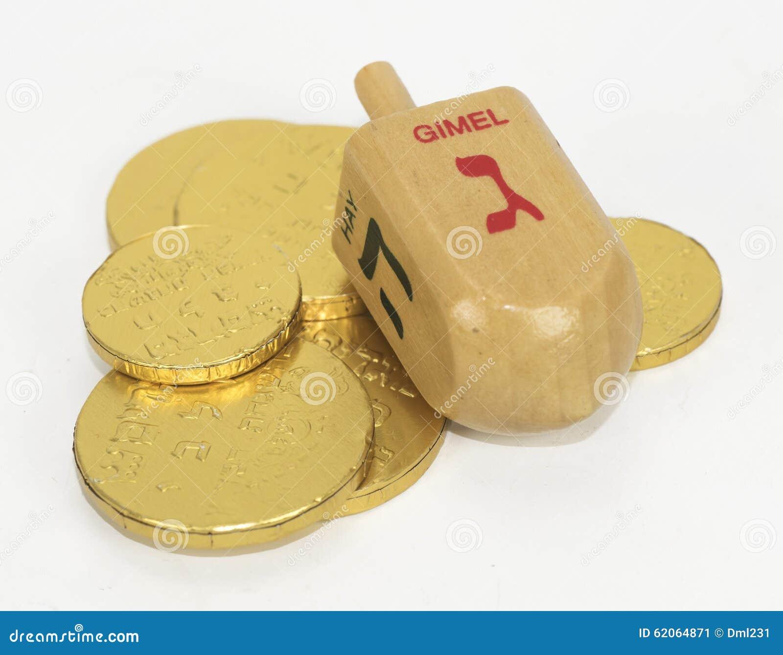 Chanukah Dreidel And Chocolate Coins Stock Photo - Image: 62064871